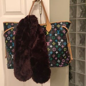 Burgundy faux scarf and black tote